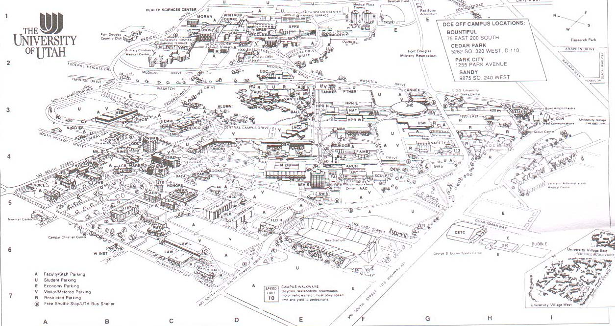 U. of Utah Historic Buildings Campus Map